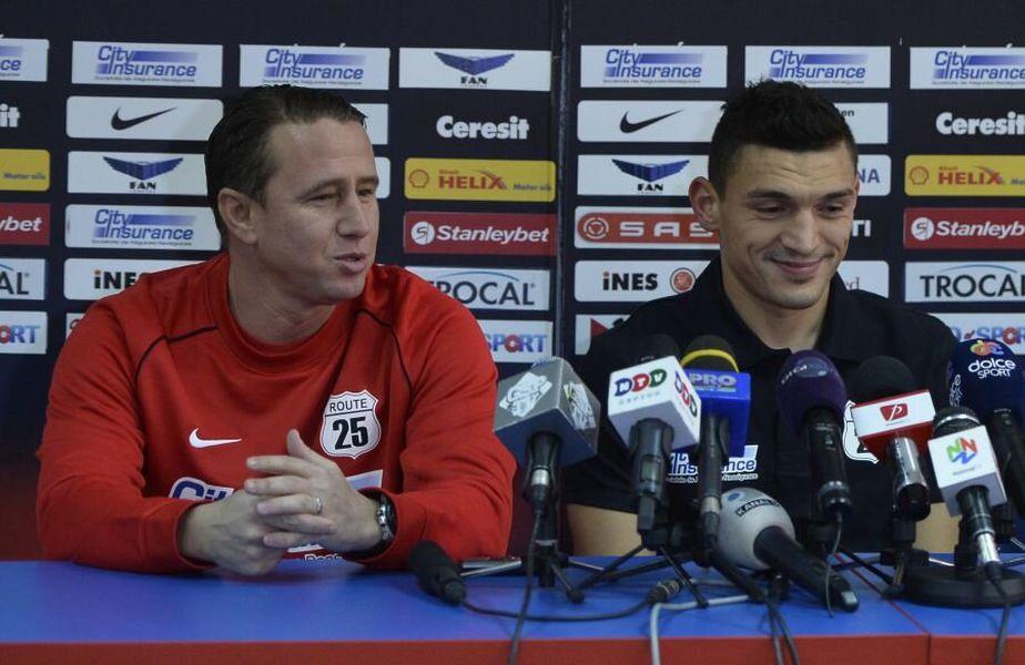 Claudiu Keșeru (dreapta) și Laurențiu Reghecampf au colaborat la FCSB între ianuarie și mai 2014