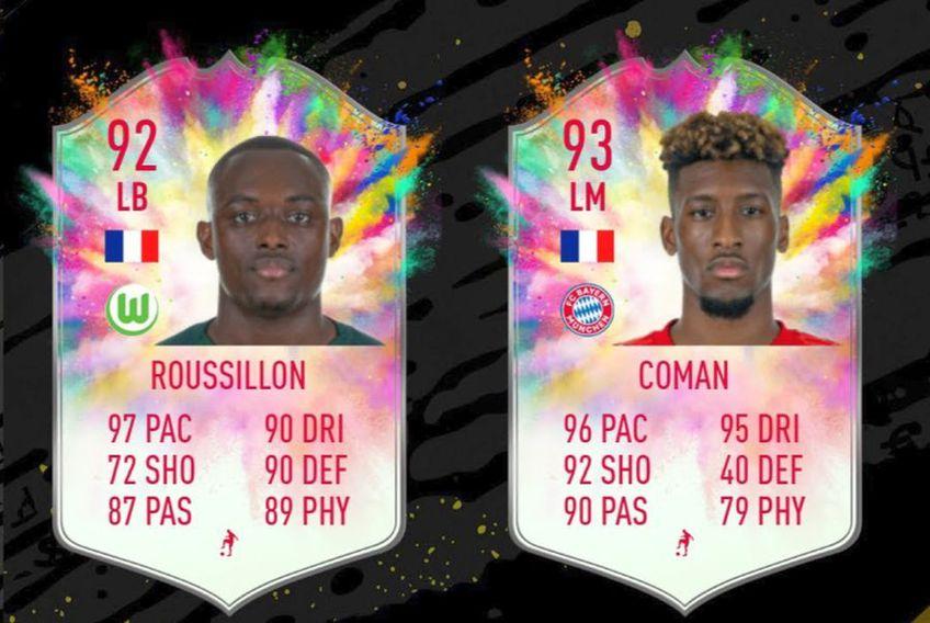 Kingsley Coman, de la Bayern, și Jerome Roussillon, de la Wolfsburg, primesc super carduri în FIFA Ultimate Team // captură YouTube @ TheGISALEGEND