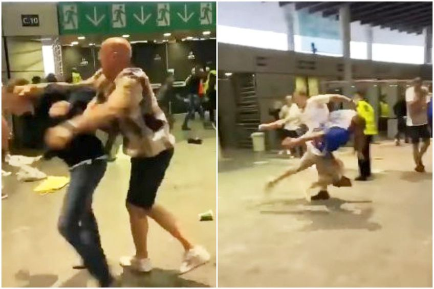 Scene de violență între fanii de pe Wembley // foto: capturi Facebook