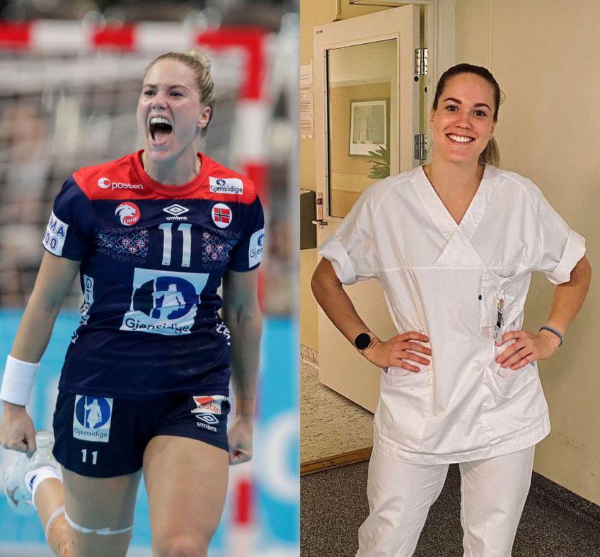 Malin Aune în dublă ipostază: jucătoare și asistentă medicală