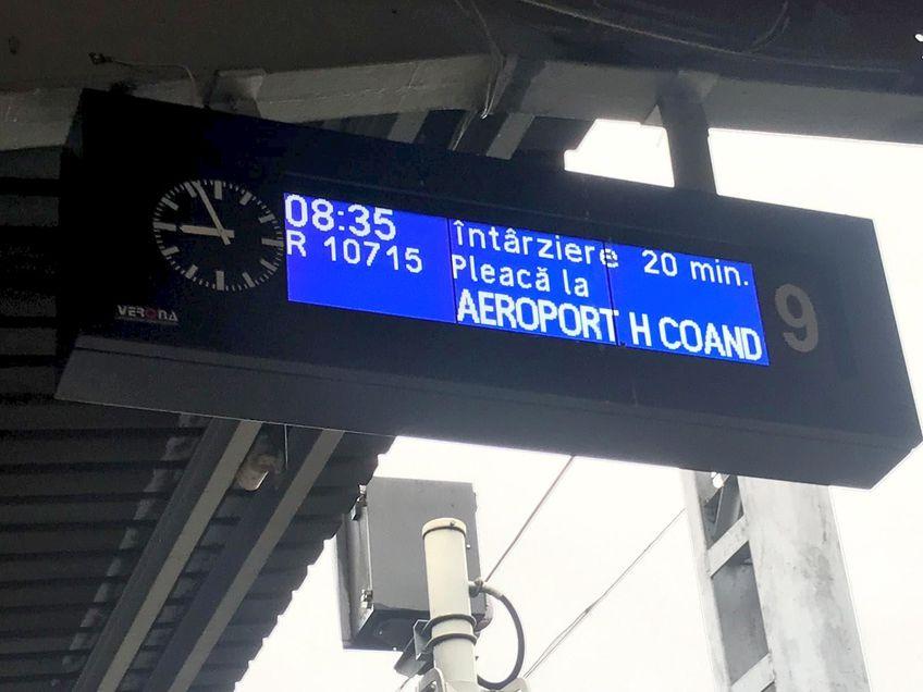 Călătorii care așteptau trenul către aeroportul din Otopeni au fost înștiințați că există o întârziere de 20 de minute