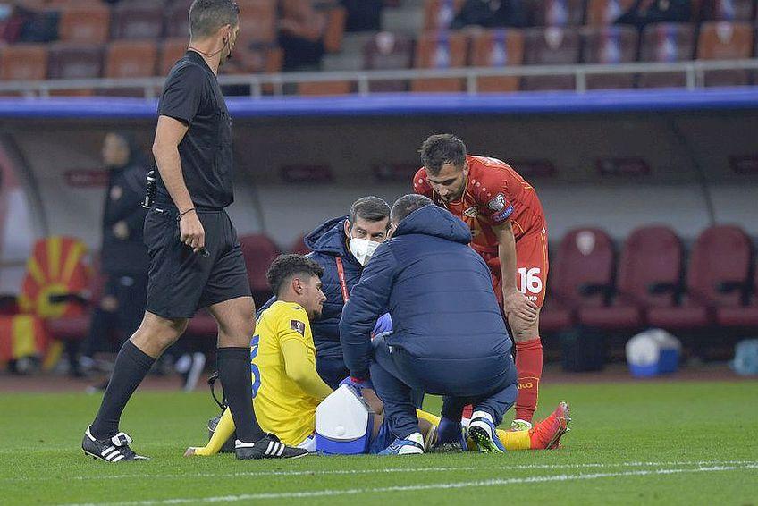 Coman a căzut secerat după doar 13 minute de joc cu Macedonia de Nord // FOTO: Cristi Preda