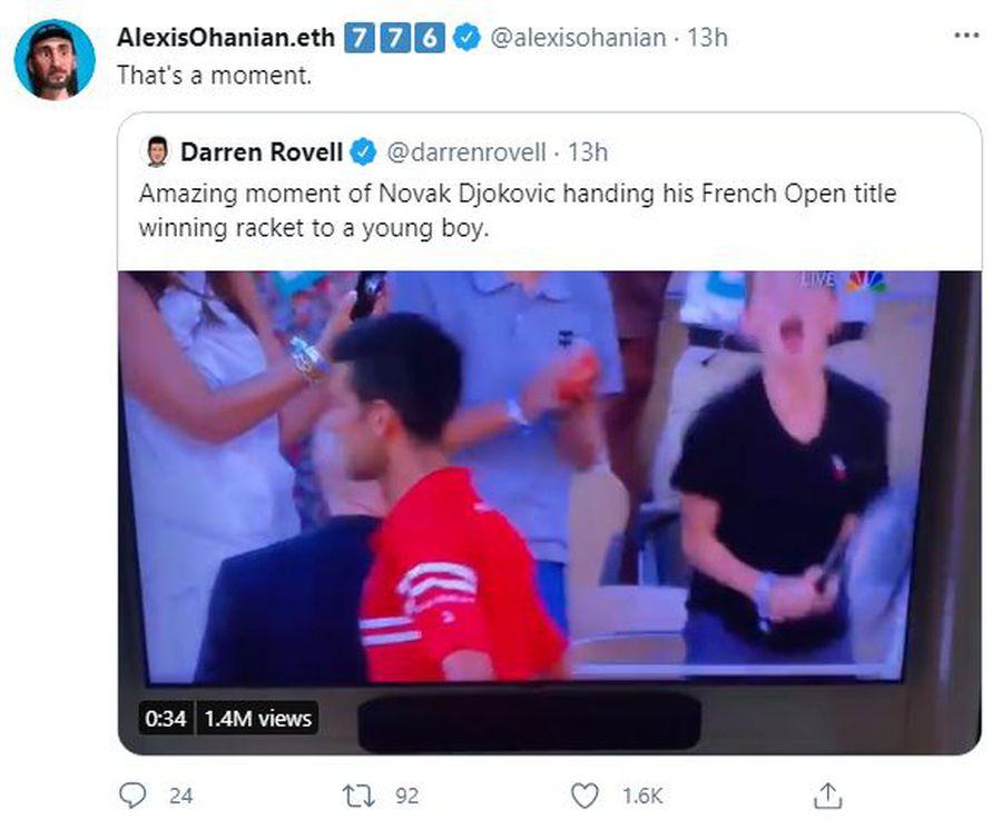 Gestul lui Novak Djokovic după cucerirea Roland Garros, sub lupa soțului Serenei Williams » Ce a postat acesta