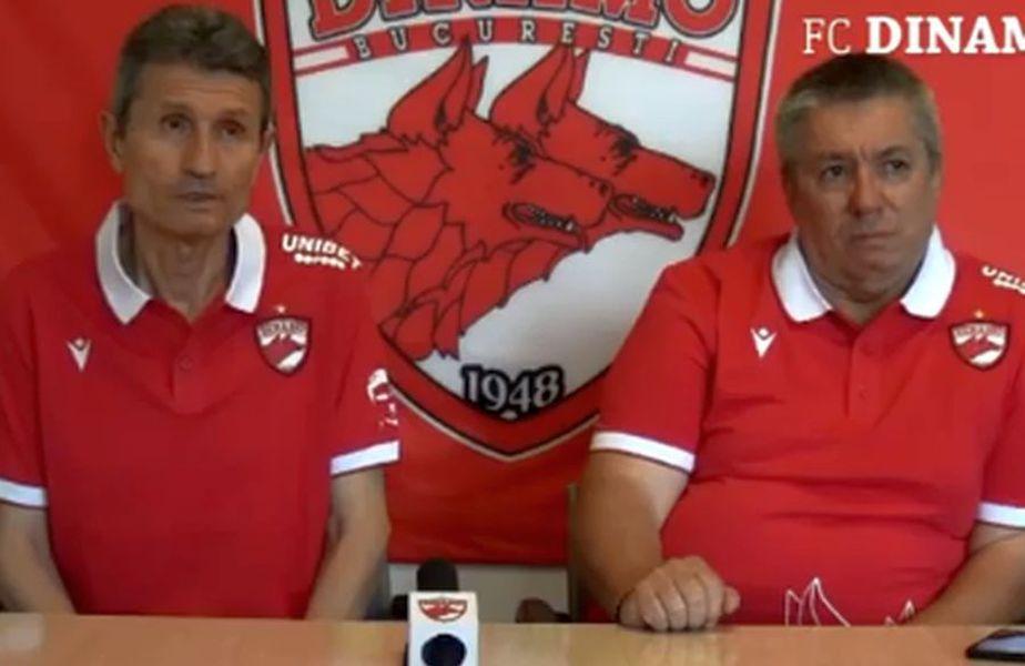 Gigi Mulțescu (stânga) și Cornel Țălnar, în prima conferință la Dinamo / foto: captură Facebook @ FC Dinamo București