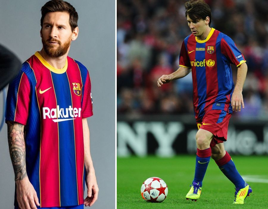 Lionel Messi, purtând tricoul din sezonul 2020/2021 (stânga), respectiv 2010/2011 (dreapta)