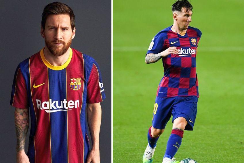 Lionel Messi, purtând tricoul Barcelonei din sezonul viitor (stânga) și actual (dreapta)