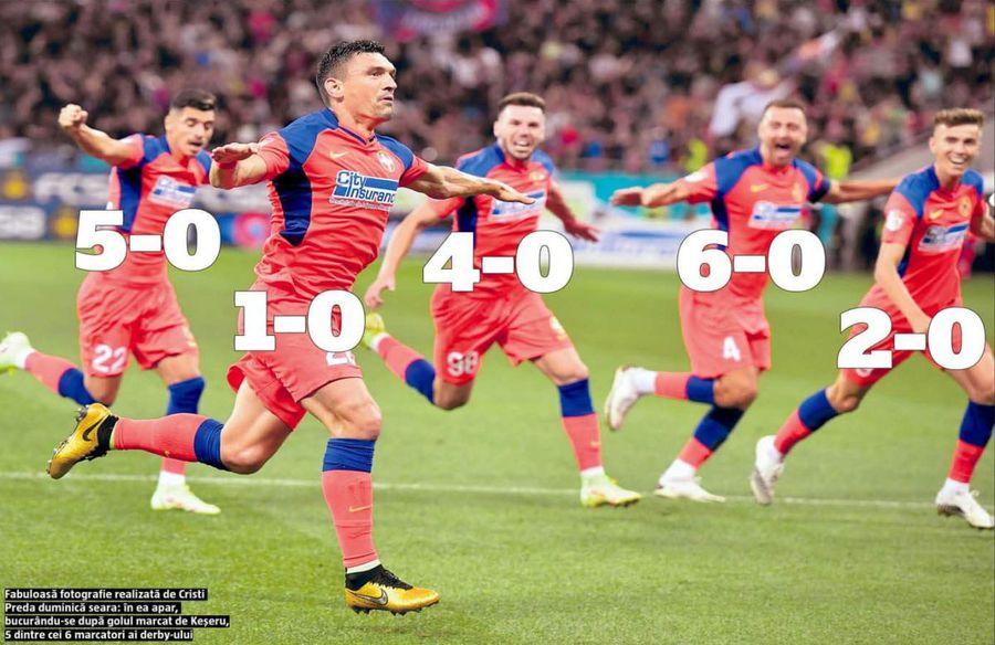 FCSB - Dinamo 6-0. Meciul, scorul și fotografia care intră direct în cartea de istorie!