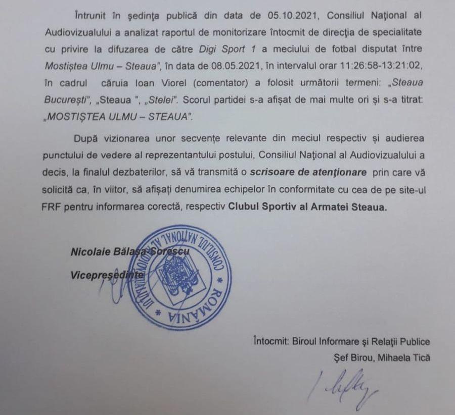 """CNA, solicitare în cazul televiziunii Digi Sport: """"Nu îi mai spuneți Steaua echipei din Liga 2"""" » Talpan atacă: """"Eronat, abuziv!"""""""