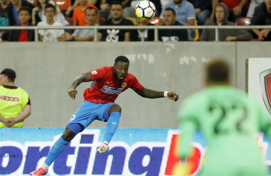 Ca jucător al FCSB, Gnohere a mai jucat două meciuri împotiva lui Dinamo și a marcat un gol în egalul spectaculos, 3-3, din sezonul 2018-2019 FOTO Bogdan Dănescu