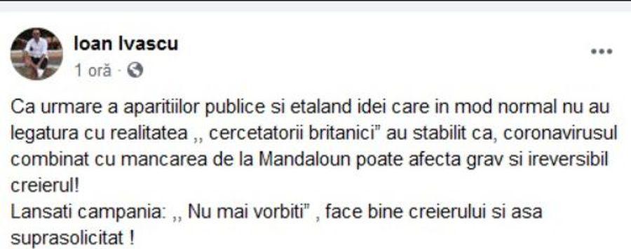 """Oficial al lui CFR Cluj, derapaj la adresa lui Adi Mutu: """"Coronavirusul combinat poate afecta ireversibil creierul"""""""