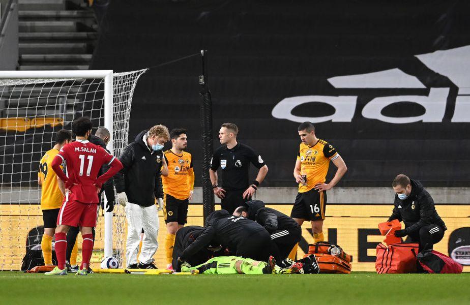 Rui Patricio (33 de ani), portarul lui Wolverhampton, a rămas inert pe gazon, în minutul 86 al partidei cu Liverpool, după o ciocnire cu un coleg.