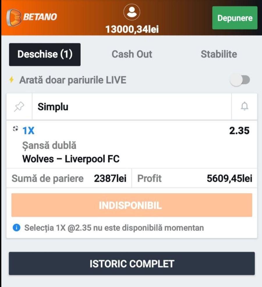 Biletul mizat în partida Wolves - Liverpool FOTO Facebook Mircea Badea