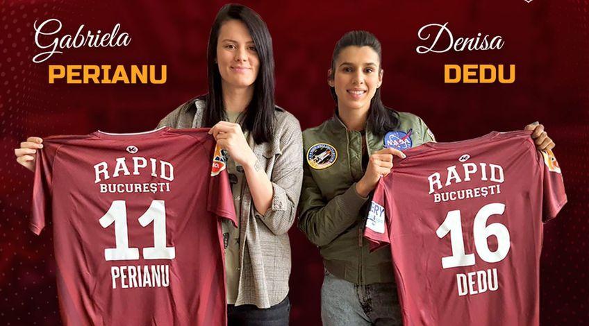 Gabi Perianu și Denisa își vor păstra numerele de pe tricouri, 11, respectiv 16 FOTO Rapid Handbal