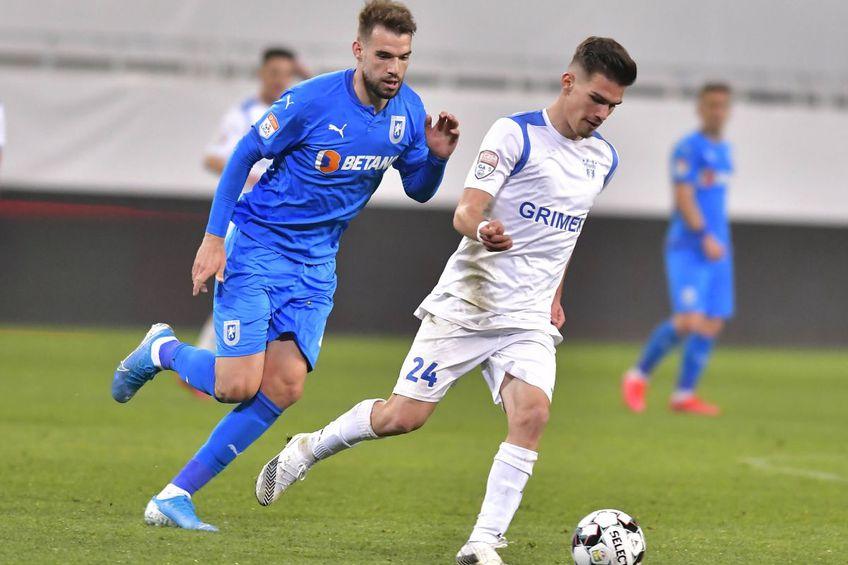 Marius Cioiu (în alb) vs. Universitatea Craiova, în Cupa României // foto: Imago