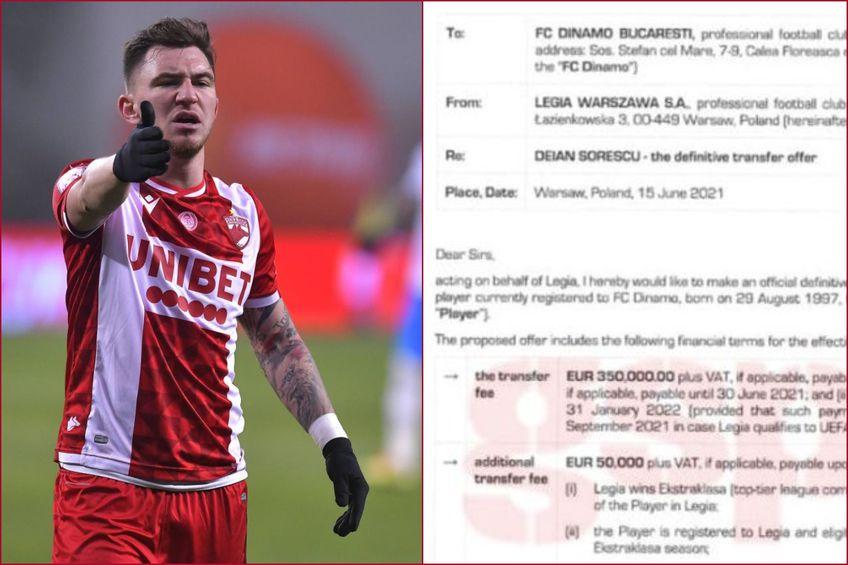 Gazeta are oferta oficială pe care Legia Varșovia, campioana Poloniei, i-a făcut-o lui Dinamo pentru Deian Sorescu (23 de ani, extremă dreapta). Lipsa crasă de profesionalism a roș-albilor blochează momentan mutarea.