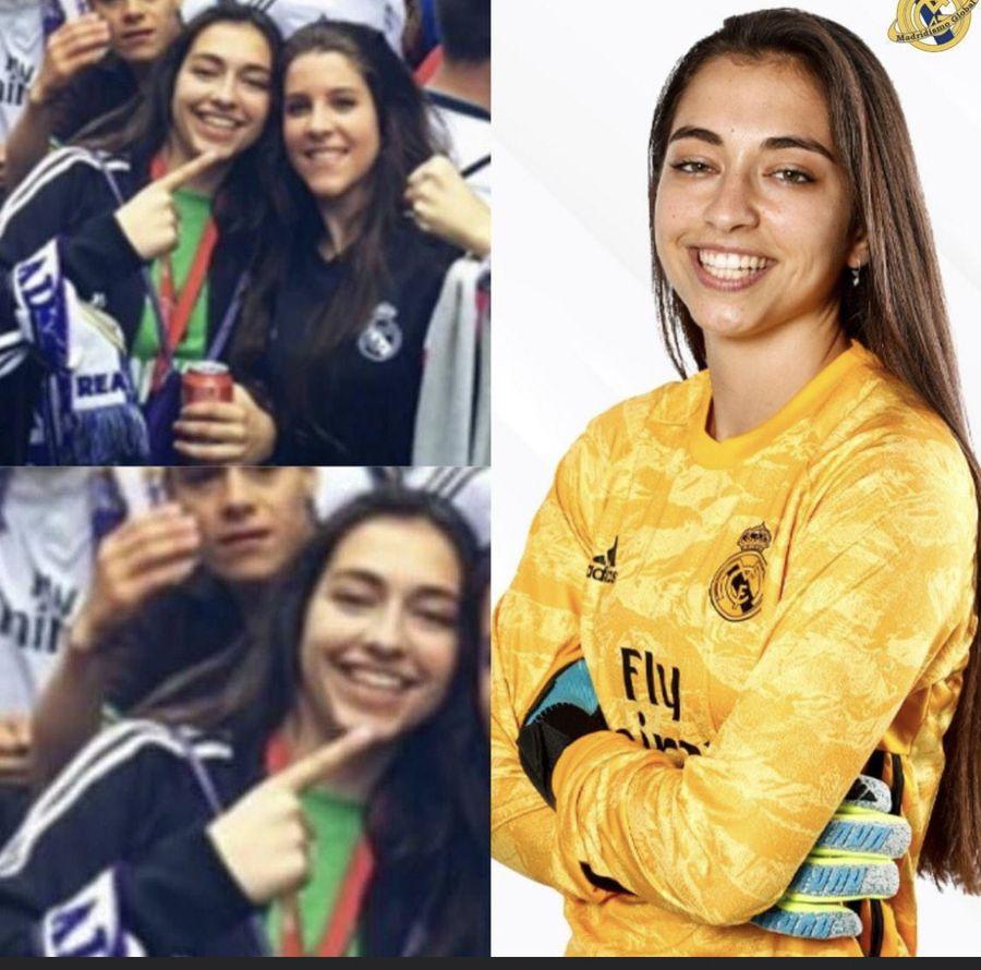 Sara sărbătorind, în 2016 (stânga), și acum, în tricoul Realului