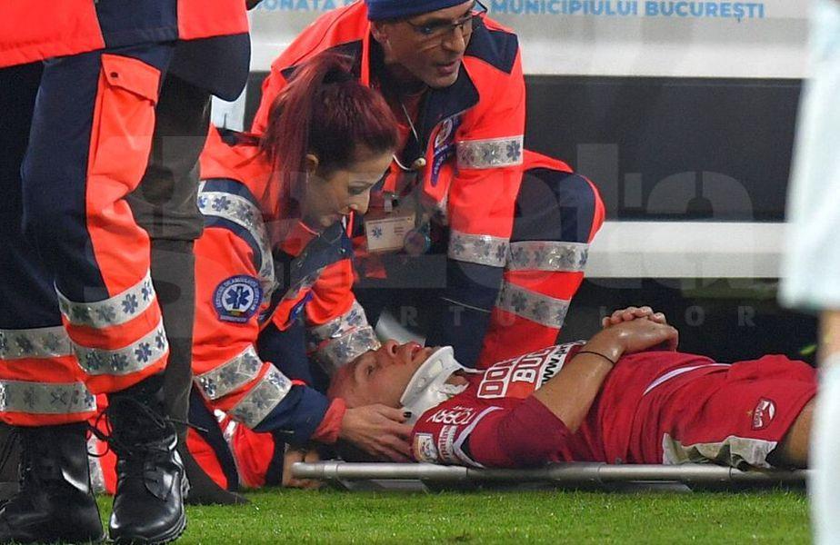 Slavko Perovic a primit mai multe minute îngrijiri medicale // FOTO: Raed Krishan