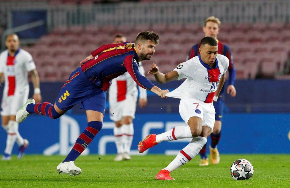 Pique versus Mbappe în Barcelona - PSG. Foto: reuters