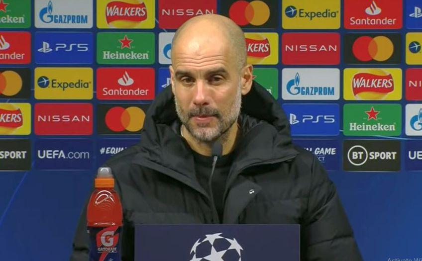 """Pep Guardiola, 50 de ani, antrenorul lui Manchester City, și-a felicitat jucătorii pentru golurile reușite în returul """"optimilor"""" de finală cu Borussia Monchengladbach, 2-0."""