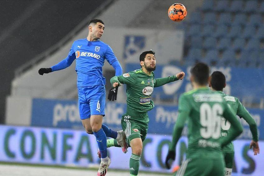 """În ianuarie a fost 0-0 pe zăpadă la Craiova - Sepsi. Însă Screciu (stânga) a văzut """"roșu"""""""