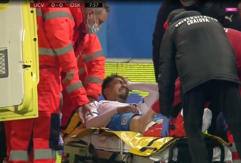 Meciul Craiova - Sepsi, primul al play-off-ului din Liga 1, a început cu o accidentare teribilă.