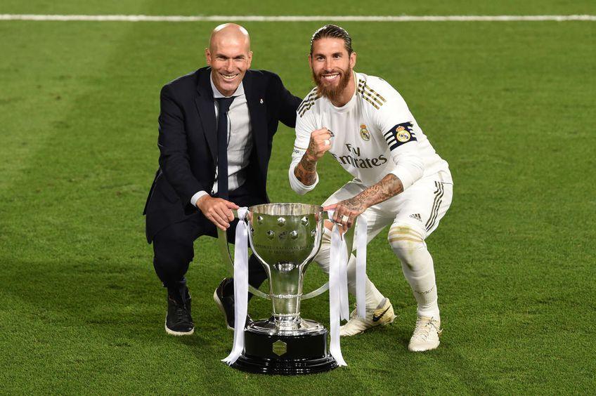 Zinedine Zidane și Sergio Ramos, după titlul câștigat de Real Madrid