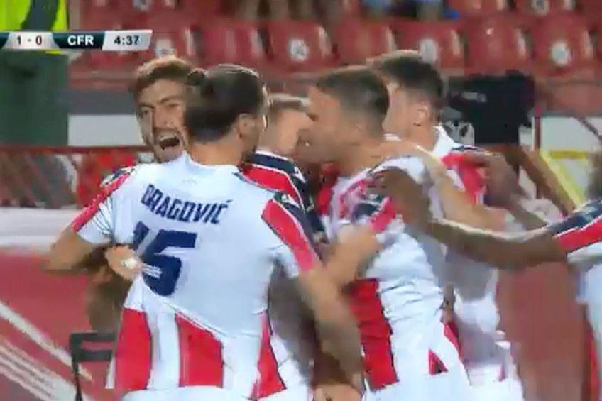 Steaua Roșie Belgrad a deschis scorul versus CFR Cluj // foto: captură Pro TV