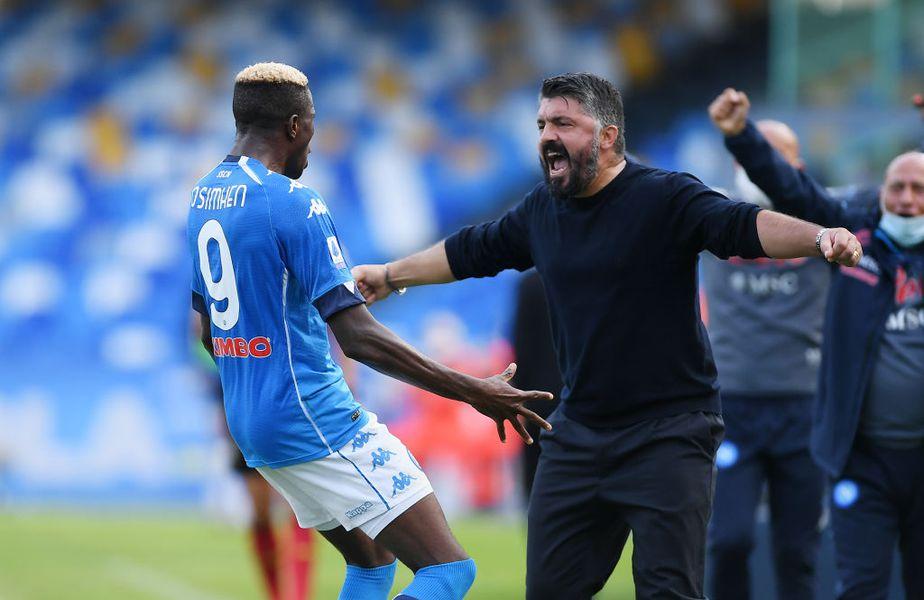 Napoli a reușit o repriză de vis în duelul cu Atalanta, marcând 4 goluri din 12 șuturi trimise pe spațiul porții.