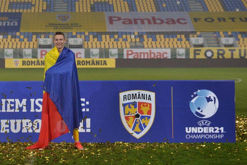 Valentin Costache a marcat golul României U21 în remiza cu Danemarca, scor 1-1