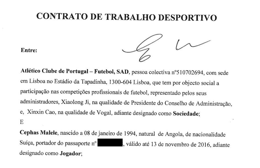 Prima filă din contractul lui Malele cu Atletico Clube de Portugal, club controlat de mafia chineză a pariurilor