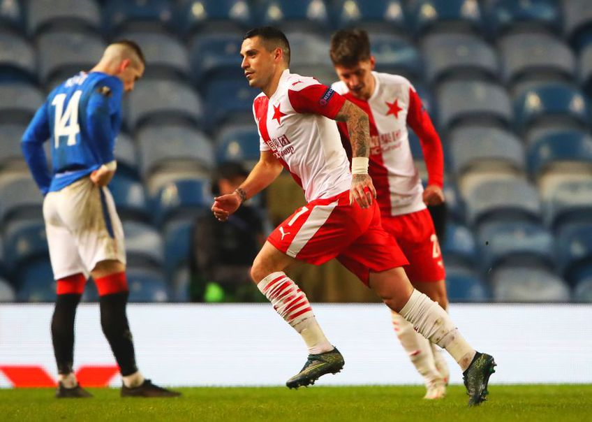 Rangers, formația lui Ianis Hagi (22 de ani), și Slavia Praga, echipa lui Nicolae Stanciu (27 de ani), dispută astăzi, de la ora 22:00, returul optimii de finală din UEFA Europa League.