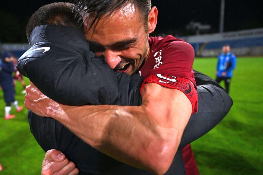 """CFR Cluj a cucerit al 4-lea titlu consecutiv în Liga 1, după victoria cu FC Botoșani, scor 1-0. Mario Camora (34 de ani), """"căpitanul"""" campioanei, a avut un mesaj pentru contestatari."""