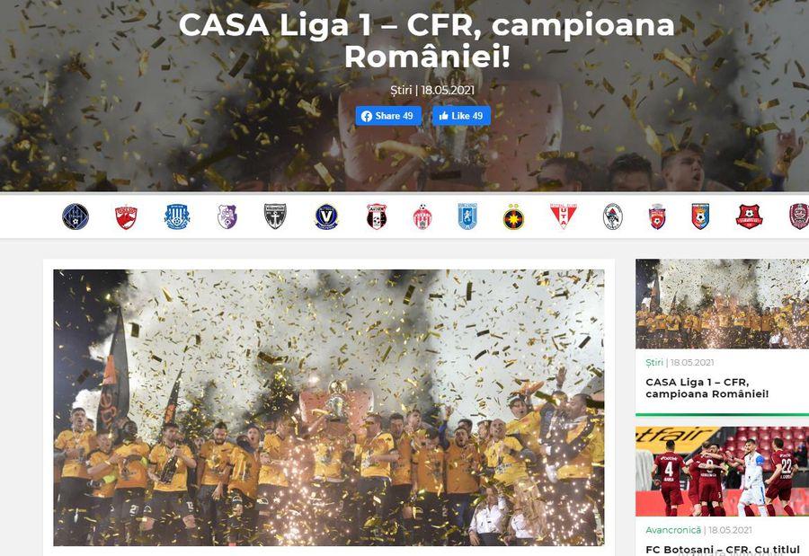 LPF a comis-o! Gafă antologică în mesajul de felicitare pentru campioana CFR Cluj