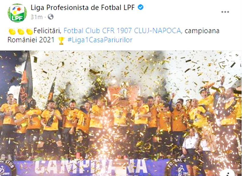 """CFR Cluj a cucerit al 4-lea titlu consecutiv în Liga 1, după victoria cu FC Botoșani, scor 1-0. LPF a comis o gafă în momentul în care i-a feliciat pe """"feroviari"""", ilustrând cu o imagine de la un trofeu câștigat de Viitorul."""