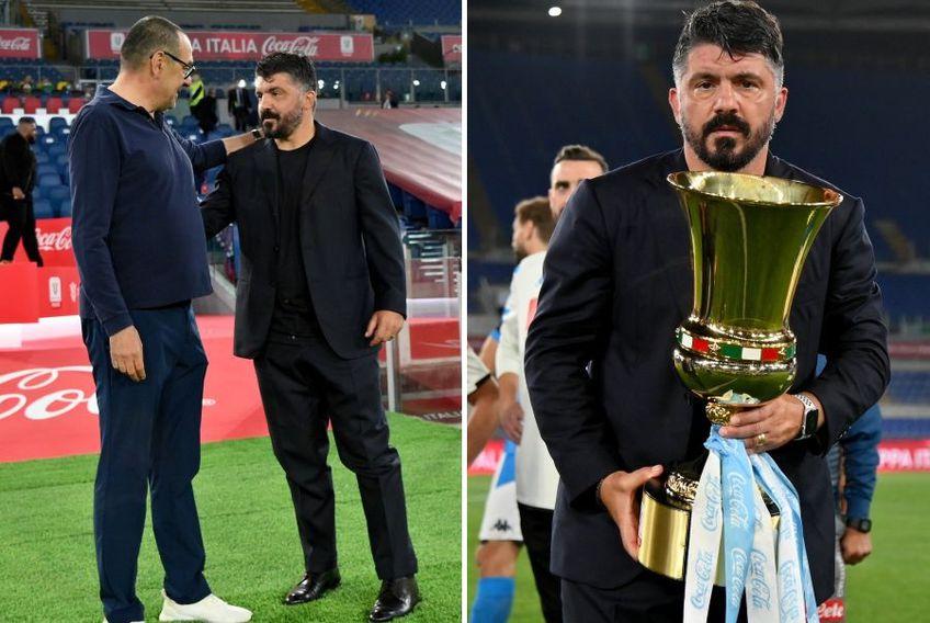 Gennaro Gattuso a câștigat primul său trofeu ca antrenor, după ce Napoli a trecut de Juventus în finala Cupei Italiei // foto: Guliver/gettyimages