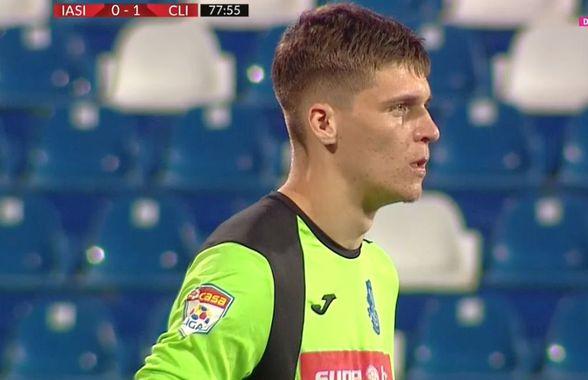 POLI IAȘI - CLINCENI. VIDEO + FOTO Gafa sezonului comisă de viitorul portar al lui Gigi Becali! A rămas mască pe teren