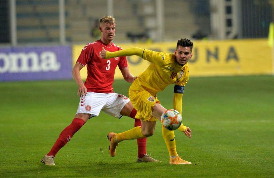 Ianis Hagi (galben) în România U21 - Danemarca U21 1-1