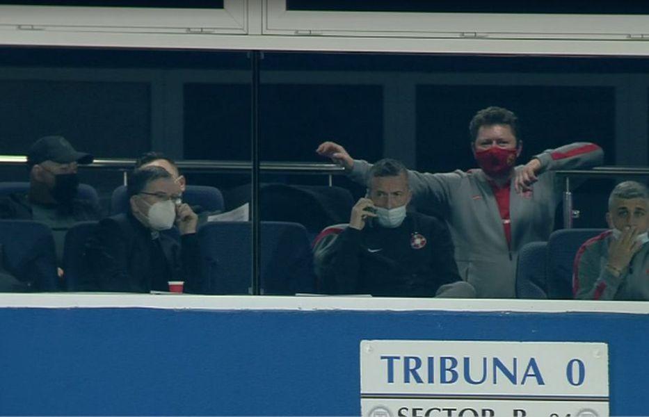 Viitorul - FCSB. Loja oaspeților la pauză / FOTO: Captură @Telekom Sport