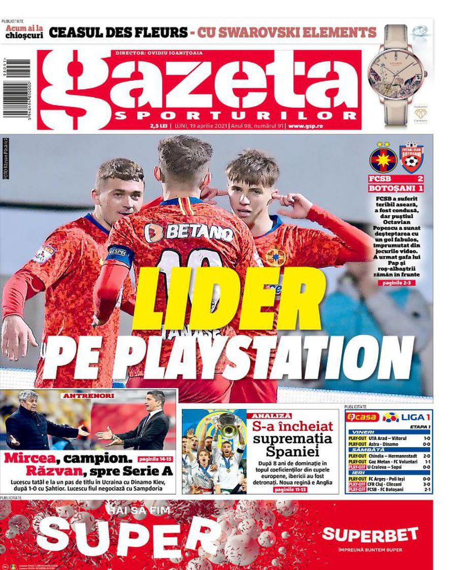 Prima pagină a Gazetei Sporturilor de astăzi