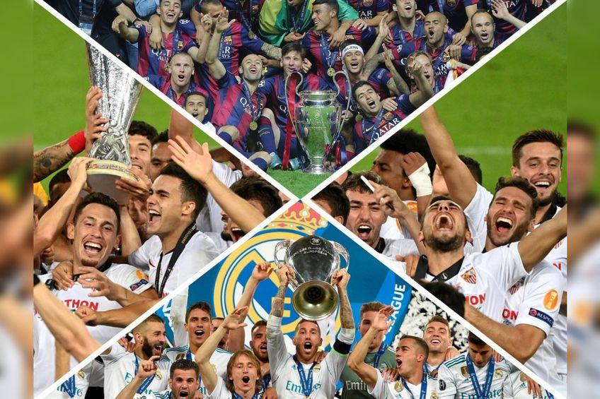"FC Barcelona, Real Madrid și FC Sevilla au ""arestat"" trofeele continentale pe bandă rulantă (FOTOMONTAJ Stela Tănase)"