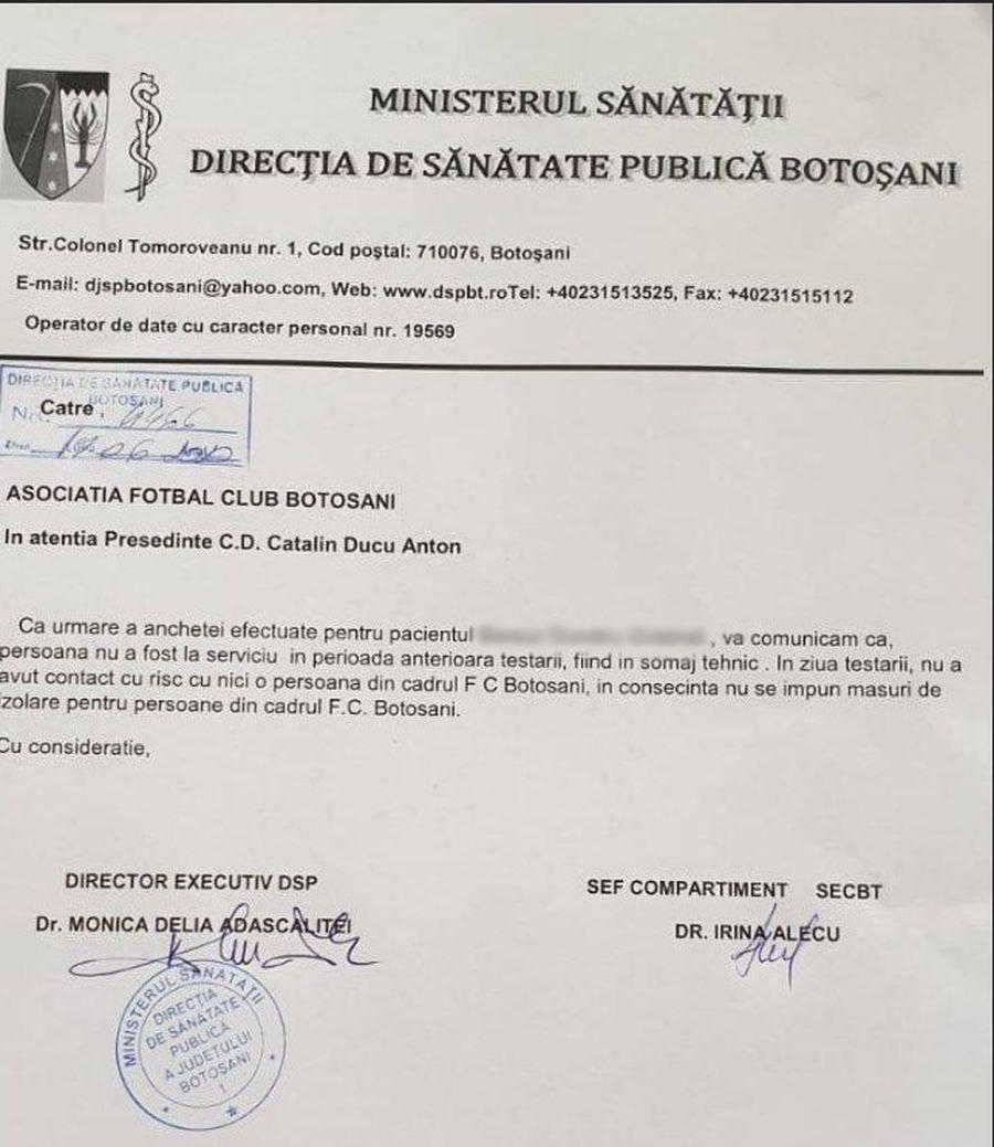 """Comunicatul DSP după un nou caz de coronavirus la FC Botoșani: """"Nu se impun măsuri de izolare"""""""