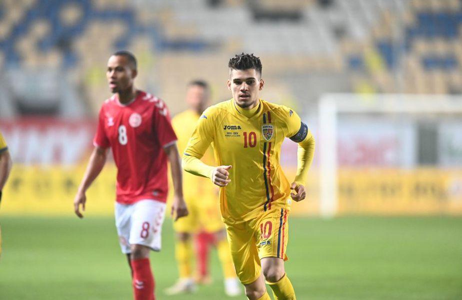 Ianis Hagi, în meciul România U21 - Danemarca U21 1-1. foto: Gazeta Sporturilor