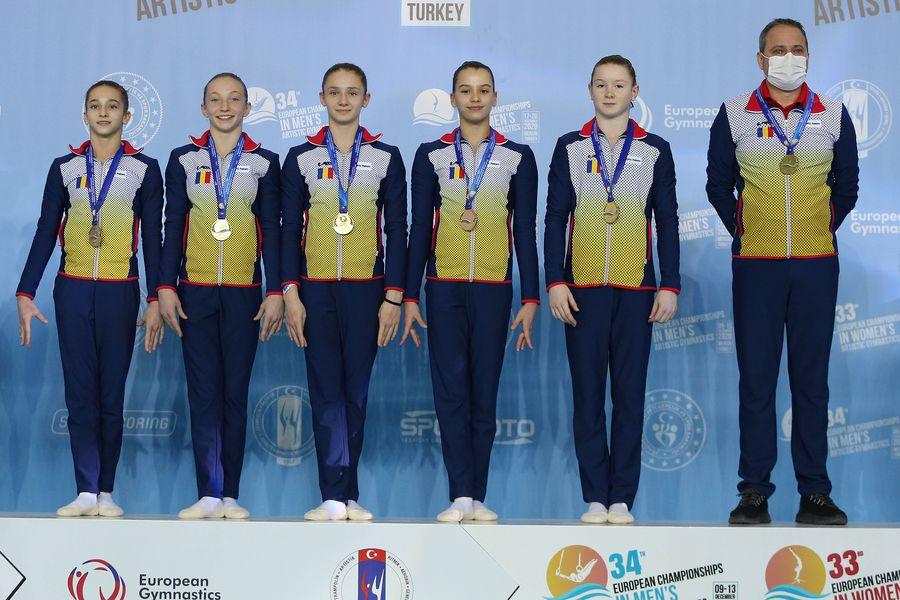 Echipa de junioare a României alături de antrenorul Lucian Sandu pe podium la Mersin FOTO Imago-Images