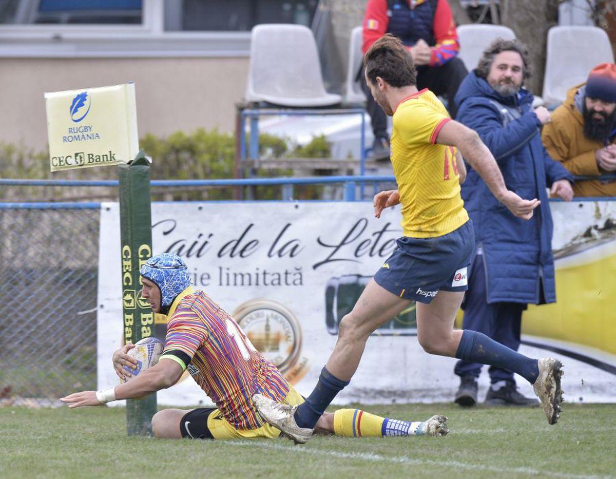 """România - Spania 22-16. Victorie importantă pentru """"stejari"""" în Rugby Europe Championship"""