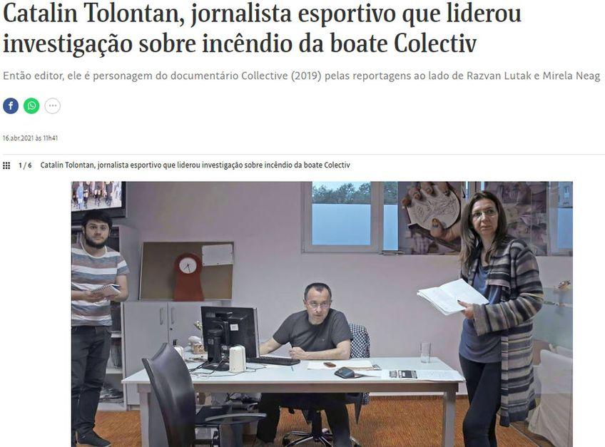 """Jurnaliștii de la Folha de São Paulo, cotidian fondat cu trei ani înaintea Gazetei Sporturilor, în 1921, au alocat o pagină documentarului """"Colectiv"""" și echipei de investigații GSP"""