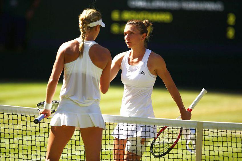 Eugenie Bouchard (stânga) și Simona Halep s-au duelat în semifinale la Wimbledon 2014. Canadianca a învins, 7-6, 6-2 // foto: Guliver/gettyimages