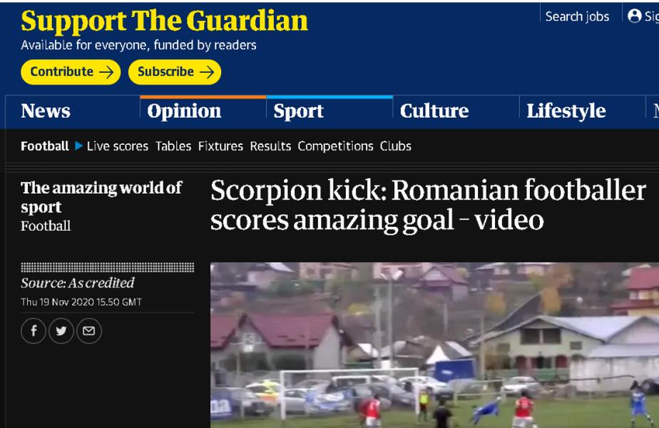 Robert Asăvoaei (22 de ani) a ajuns în The Guardian după supergolul reușit în meciul din Liga 3, CS Știința Miroslava - CSM Pașcani 4-0.