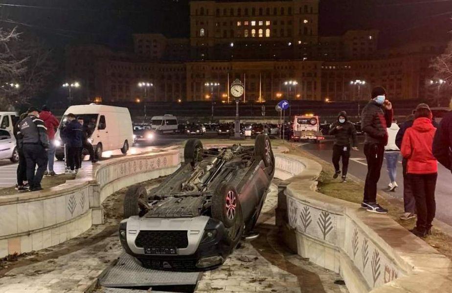 Trei mașini au plonjat în fântânile arteziene din Centrul Capitalei, într-o singură săptămână