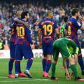 Martin Braithwaite (19), Leo Messi (10), Ivan Rakitic (4), în tricoul Barcelonei // Sursa: Getty