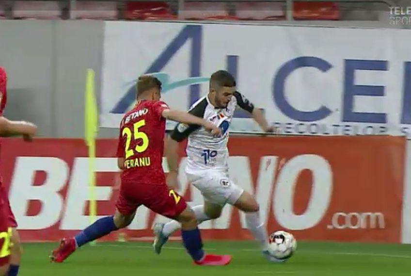 Perianu a fost depășit ușor de Buș la faza golului de 1-1 în FCSB - Gaz Metan // foto: captură TV Telekom Sport